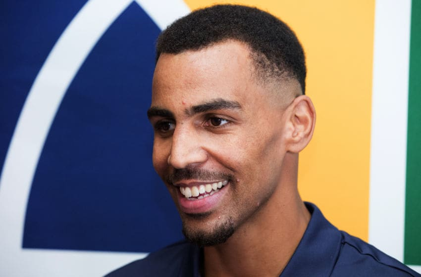 SALT LAKE CITY, UT - JULY 18: Thabo Sefolosha of the Utah Jazz attend a press conference after signing with the Utah Jazz at Grand America Hotel on July 18, 2017 in Salt Lake City, Utah. Mandatory Copyright Notice: Copyright 2017 NBAE (Photo by Keith Johnson/NBAE via Getty Images)