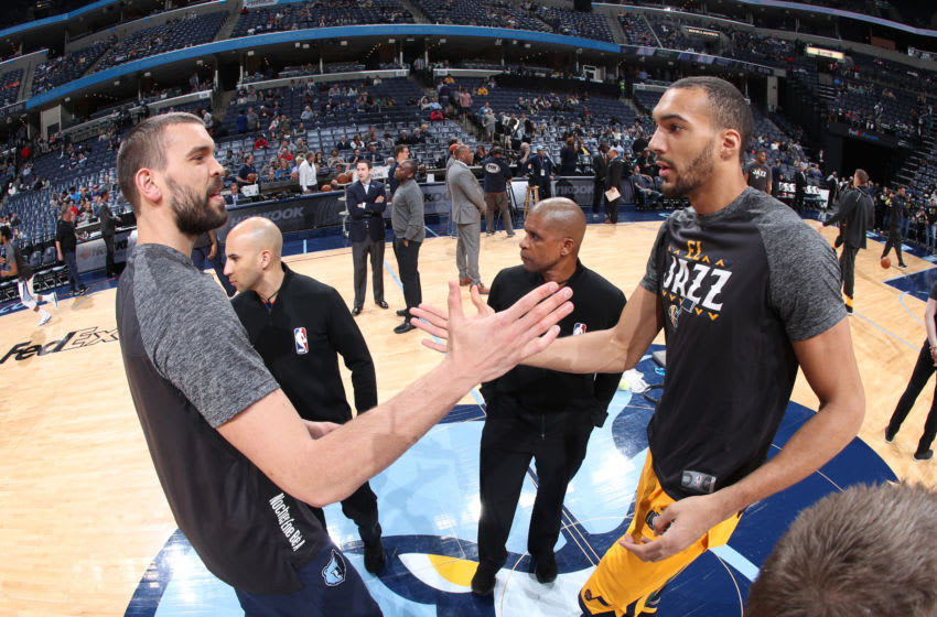 MEMPHIS, TN - MARCH 9: Marc Gasol #33 of the Memphis Grizzlies and Rudy Gobert #27 of the Utah Jazz greet on March 9, 2018 at FedExForum in Memphis, Tennessee. NOTE TO USER: User expressly acknowledges and agrees that, by downloading and or using this photograph, User is consenting to the terms and conditions of the Getty Images License Agreement. Mandatory Copyright Notice: Copyright 2018 NBAE (Photo by Joe Murphy/NBAE via Getty Images)