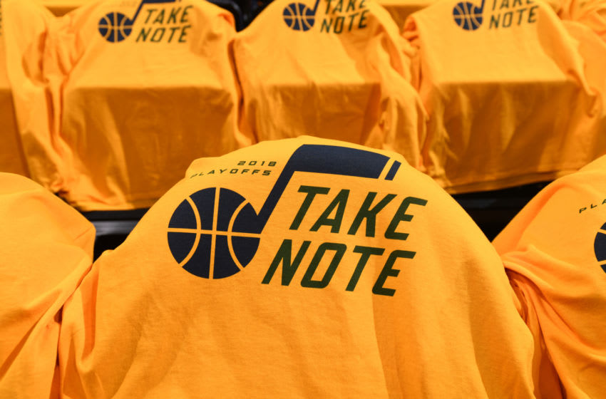 SALT LAKE CITY, UT - APRIL 27: Shirts are laid out for fans before Game Six of the Western Conference Quarterfinals between the Oklahoma City Thunder and the Utah Jazz during the 2018 NBA Playoffs on April 27, 2018 at Vivint Smart Home Arena in Salt Lake City, Utah. NOTE TO USER: User expressly acknowledges and agrees that, by downloading and/or using this photograph, user is consenting to the terms and conditions of the Getty Images License Agreement. Mandatory Copyright Notice: Copyright 2018 NBAE (Photo by Garrett Ellwood/NBAE via Getty Images)