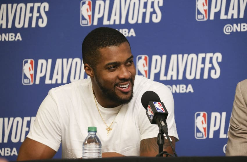 SALT LAKE CITY, UT - APRIL 27: Derrick Favors #15 of the Utah Jazz speaks to the media after game against the Oklahoma City Thunder in Game Six of the Western Conference Quarterfinals during the 2018 NBA Playoffs on April 27, 2018 at vivint.SmartHome Arena in Salt Lake City, Utah. Copyright 2018 NBAE (Photo by Melissa Majchrzak/NBAE via Getty Images)