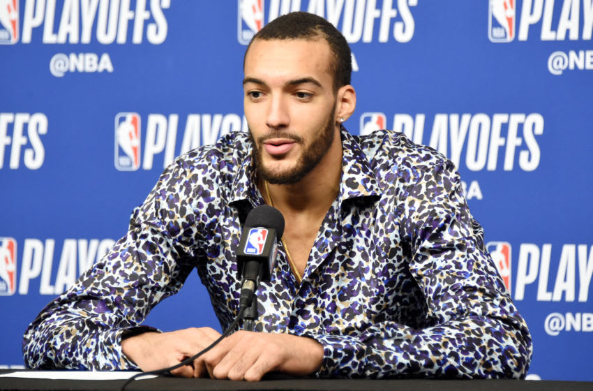 HOUSTON, TX - MAY 8: Rudy Gobert #27 of the Utah Jazz talks with media after the game against the Houston Rockets during Game Five of the Western Conference Semifinals of the 2018 NBA Playoffs on May 8, 2018 at the Toyota Center in Houston, Texas. Copyright 2018 NBAE (Photo by Andrew D. Bernstein/NBAE via Getty Images)