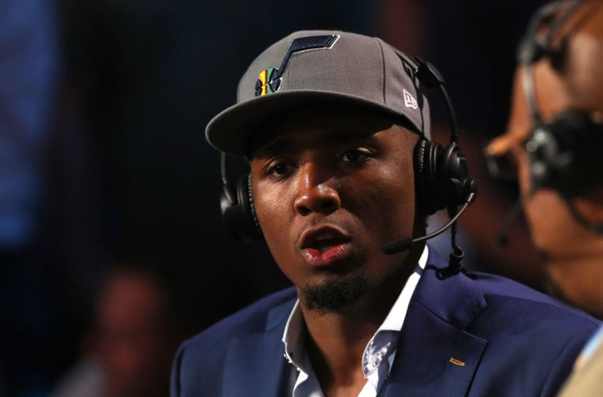NEW YORK, NY - JUNE 21: Donovan Mitchell of the Utah Jazz speaks during the 2018 NBA Draft at the Barclays Center on June 21, 2018 in the Brooklyn borough of New York City. NOTE TO USER: User expressly acknowledges and agrees that, by downloading and or using this photograph, User is consenting to the terms and conditions of the Getty Images License Agreement. (Photo by Mike Stobe/Getty Images)
