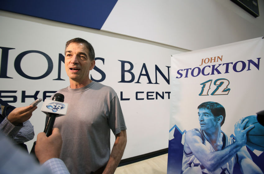 SALT LAKE CITY, UT - MARCH 22: John Stockton #12 of the Utah Jazz speaks to the press during a press interview about the 1997 Reunited Western Conference Champs at Zions Bank Basketball Center on March 22, 2017 in Salt Lake City, Utah. Mandatory Copyright Notice: Copyright 2017 NBAE (Photo by Melissa Majchrzak/NBAE via Getty Images)
