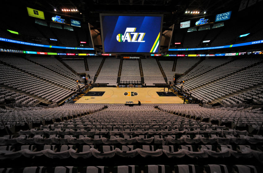 SALT LAKE CITY, UT - APRIL 28: General view of Vivint Smart Home Arena prior to the game between the Los Angeles Clippers and the Utah Jazz in Game Six of the Western Conference Quarterfinals during the 2017 NBA Playoffs on April 28, 2017 in Salt Lake City, Utah. NOTE TO USER: User expressly acknowledges and agrees that, by downloading and or using this photograph, User is consenting to the terms and conditions of the Getty Images License Agreement. (Photo by Gene Sweeney Jr/Getty Images)
