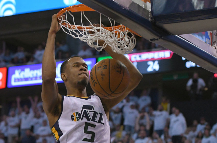 SALT LAKE CITY, UT - APRIL 28: Rodney Hood of the Utah Jazz scores during Game 6 of the team's first-round playoff series with the LA Clippers. (Photo by Gene Sweeney Jr/Getty Images)