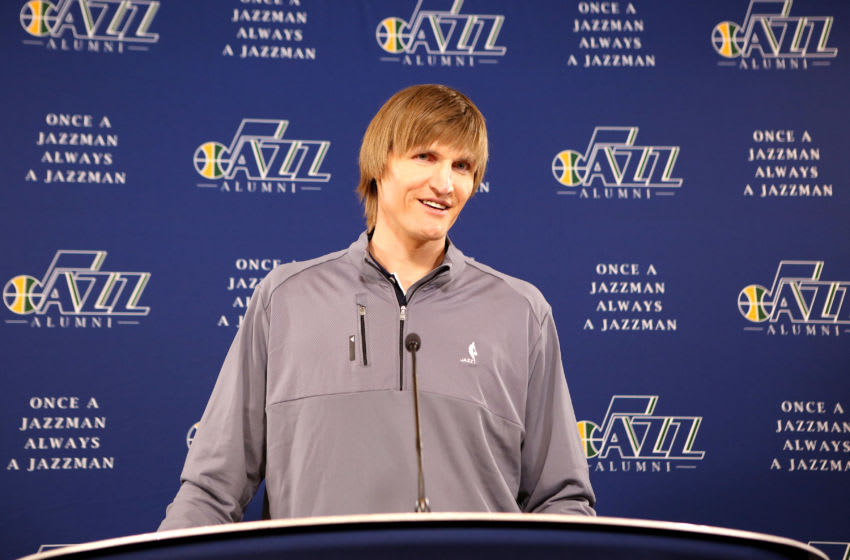 SALT LAKE CITY, UT - MARCH 28: Former player Andrei Kirilenko is recognized for his achievements during the 10 years of his career before the game against the Los Angeles Lakers on March 28, 2016 at EnergySolutions Arena in Salt Lake City, Utah. Copyright 2016 NBAE (Photo by Melissa Majchrzak/NBAE via Getty Images)