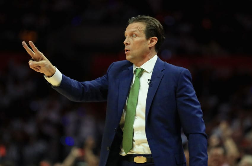 LOS ANGELES, CA - APRIL 25: Head coach Quin Snyder calls a play during the second half of Game Five of the Western Conference Quarterfinals against the Los Angeles Clippers at Staples Center on April 25, 2017 in Los Angeles, California. (Photo by Sean M. Haffey/Getty Images)