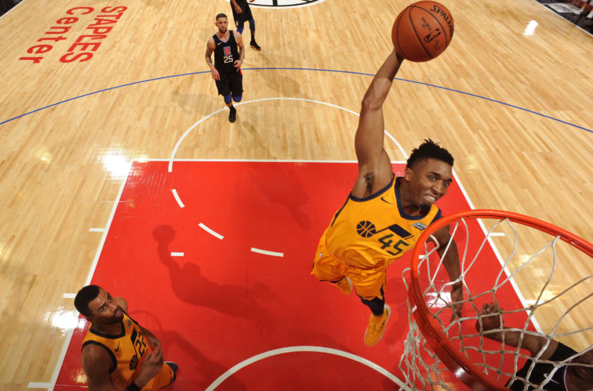 LOS ANGELES, CA - NOVEMBER 30: Donovan Mitchell #45 of the Utah Jazz dunks the ball against the LA Clippers on November 30, 2017 at STAPLES Center in Los Angeles, California. Copyright 2017 NBAE (Photo by Andrew D. Bernstein/NBAE via Getty Images)