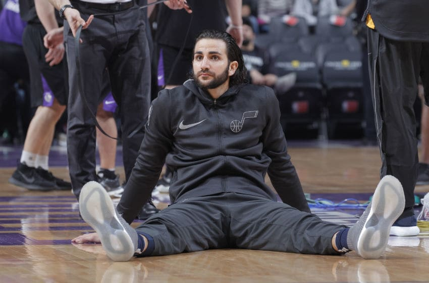 SACRAMENTO, CA - JANUARY 17: Ricky Rubio #3 of the Utah Jazz warms up against the Sacramento Kings on January 17, 2018 at Golden 1 Center in Sacramento, California. NOTE TO USER: User expressly acknowledges and agrees that, by downloading and or using this photograph, User is consenting to the terms and conditions of the Getty Images Agreement. Mandatory Copyright Notice: Copyright 2018 NBAE (Photo by Rocky Widner/NBAE via Getty Images)