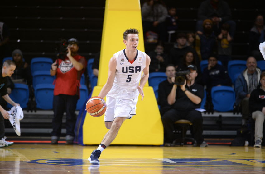 SANTA CRUZ, CA - FEBRUARY 26: David Stockton #5 of USA handles the ball against Puerto Rico on February 26, 2018 at Kaiser Permanente Arena in Santa Cruz, California. Copyright 2018 NBAE (Photo by Noah Graham/NBAE via Getty Images)