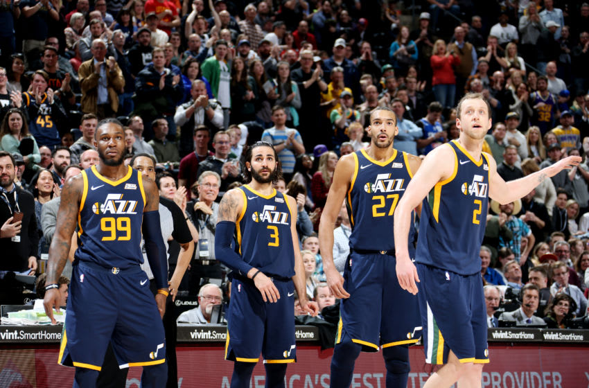 SALT LAKE CITY, UT - MARCH 5: the Utah Jazz looks on during the game against the Orlando Magicon March 5, 2018 at vivint.SmartHome Arena in Salt Lake City, Utah. Copyright 2018 NBAE (Photo by Melissa Majchrzak/NBAE via Getty Images)