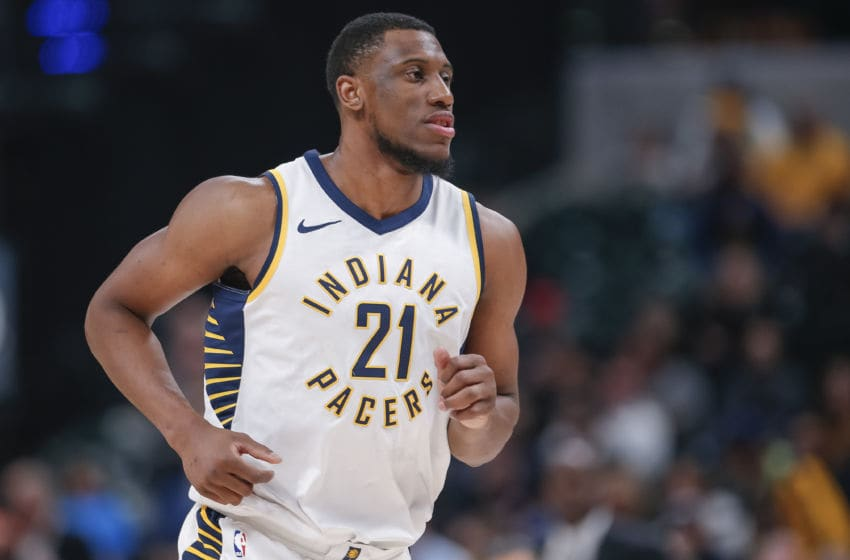 INDIANAPOLIS, IN - MARCH 07: Thaddeus Young #21 of the Indiana Pacers is seen during the game against the Utah Jazz at Bankers Life Fieldhouse on March 7, 2018 in Indianapolis, Indiana. (Photo by Michael Hickey/Getty Images)