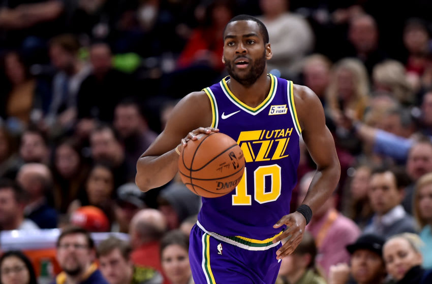 SALT LAKE CITY, UT - NOVEMBER 26: Alec Burks #10 of the Utah Jazz brings the ball up court against the Indiana Pacers in the second half of a NBA game at Vivint Smart Home Arena on November 26, 2018 in Salt Lake City, Utah. NOTE TO USER: User expressly acknowledges and agrees that, by downloading and or using this photograph, User is consenting to the terms and conditions of the Getty Images License Agreement. (Photo by Gene Sweeney Jr./Getty Images)
