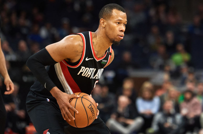 MINNEAPOLIS, MN - APRIL 01: Rodney Hood #5 of the Portland Trail Blazers has the ball against the Minnesota Timberwolves during the game on April 1, 2019 at the Target Center in Minneapolis, Minnesota. NOTE TO USER: User expressly acknowledges and agrees that, by downloading and or using this Photograph, user is consenting to the terms and conditions of the Getty Images License Agreement. (Photo by Hannah Foslien/Getty Images)