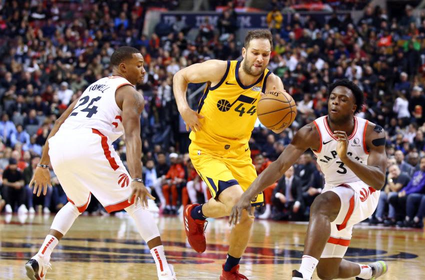 Bojan Bogdanovic, Utah Jazz. Norman Powell, OG Anunoby, Toronto Raptors. (Photo by Vaughn Ridley/Getty Images)