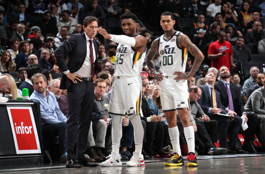 Jordan Clarkson, Donovan Mitchell, Utah Jazz. Copyright 2020 NBAE (Photo by Nathaniel S. Butler/NBAE via Getty Images)
