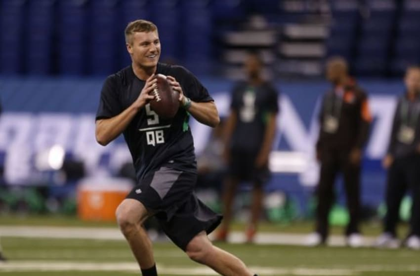 Feb 27, 2016; Indianapolis, IN, USA; Michigan State Spartans quarterback Connor Cook throws a pass during the 2016 NFL Scouting Combine at Lucas Oil Stadium. Mandatory Credit: Brian Spurlock-USA TODAY Sports