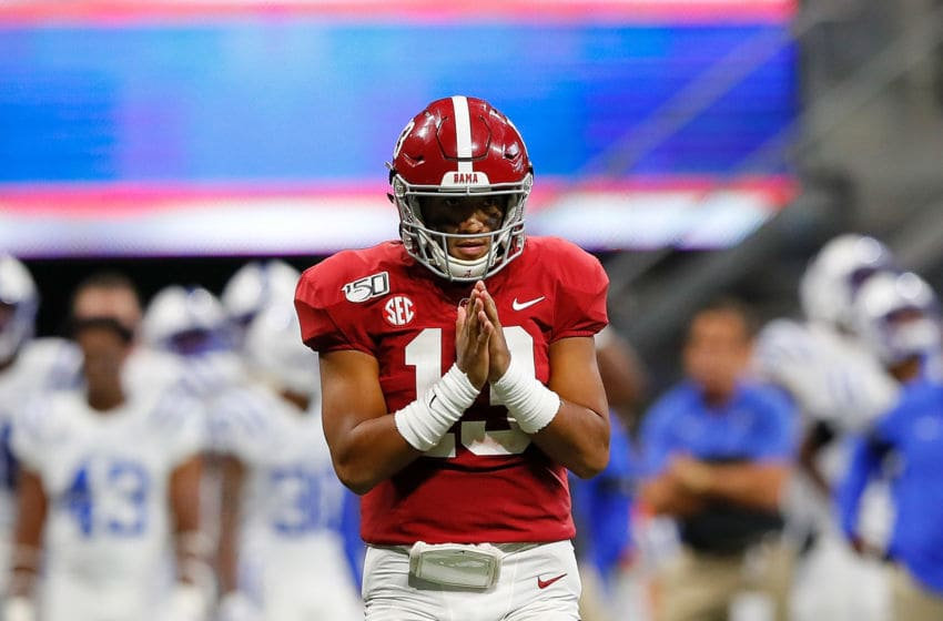 ATLANTA, GEORGIA - AUGUST 31: Tua Tagovailoa #13 of the Alabama Crimson Tide reacts after passing for a touchdown in the second half against the Duke Blue Devils at Mercedes-Benz Stadium on August 31, 2019 in Atlanta, Georgia. (Photo by Kevin C. Cox/Getty Images)