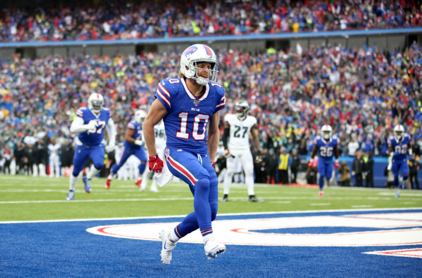 ORCHARD PARK, NEW YORK - OCTOBER 27: Cole Beasley #10 of the Buffalo Bills scores a touchdown during the second quarter of an NFL game against the Philadelphia Eagles at New Era Field on October 27, 2019 in Orchard Park, New York. (Photo by Bryan M. Bennett/Getty Images)