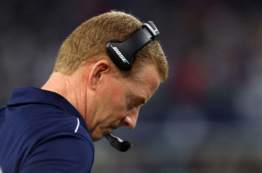 ARLINGTON, TEXAS - NOVEMBER 28: Dallas Cowboys head coach Jason Garrett stands on the sideline in the fourth quarter of a game against the Buffalo Bills at AT&T Stadium on November 28, 2019 in Arlington, Texas. (Photo by Richard Rodriguez/Getty Images)