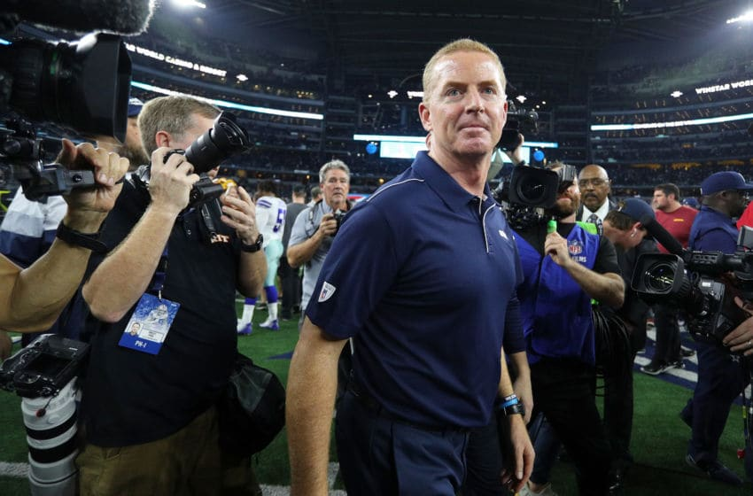 ARLINGTON, TEXAS - DECEMBER 29: Head coach Jason Garrett of the Dallas Cowboys walks off the field after the win against the Washington Redskins at AT&T Stadium on December 29, 2019 in Arlington, Texas. (Photo by Richard Rodriguez/Getty Images)