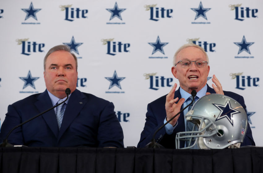 FRISCO, TEXAS - JANUARY 08: Head coach Mike McCarthy of the Dallas Cowboys and Dallas Cowboys owner Jerry Jones talk with the media during a press conference at the Ford Center at The Star on January 08, 2020 in Frisco, Texas. (Photo by Tom Pennington/Getty Images)