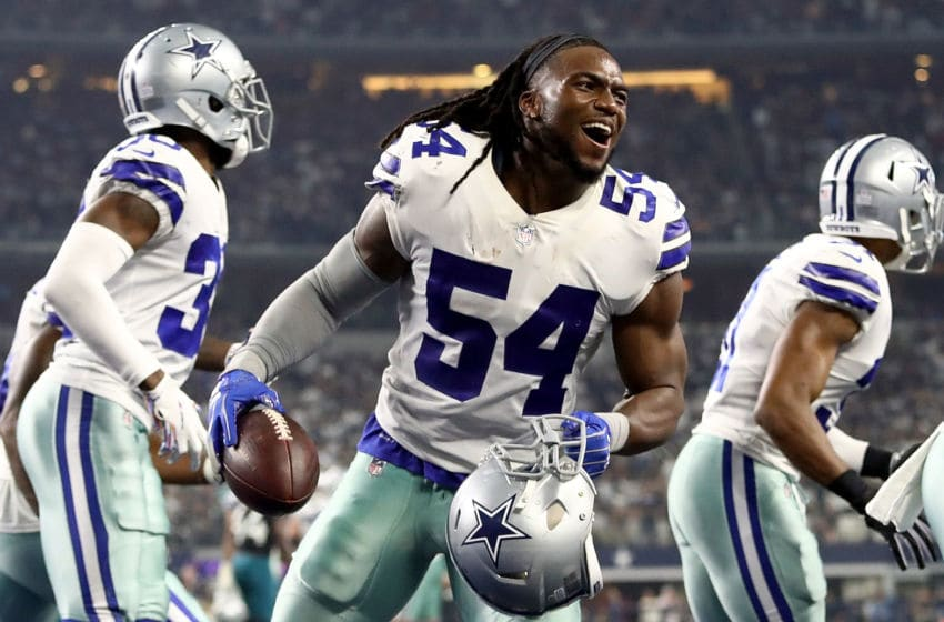 ARLINGTON, TX - OCTOBER 14: Jaylon Smith #54 of the Dallas Cowboys celebrates a fumble recovery against the Jacksonville Jaguars at AT&T Stadium on October 14, 2018 in Arlington, Texas. (Photo by Ronald Martinez/Getty Images)
