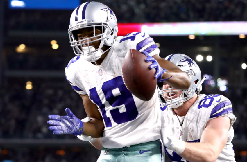 ARLINGTON, TEXAS - DECEMBER 09: Amari Cooper #19 of the Dallas Cowboys celebrates with Blake Jarwin #89 after a touchdown against the Philadelphia Eagles in overtime for a 29-23 win at AT&T Stadium on December 09, 2018 in Arlington, Texas. (Photo by Ronald Martinez/Getty Images)