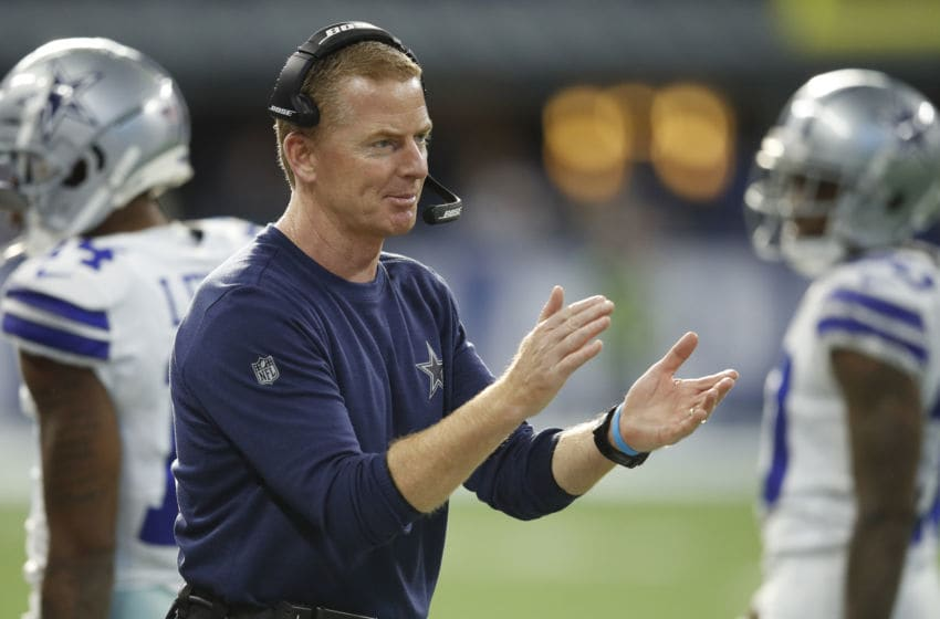 INDIANAPOLIS, INDIANA - DECEMBER 16: Head coach Jason Garrett of the Dallas Cowboys reacts after a play in the game against the Indianapolis Colts in the fourth quarter at Lucas Oil Stadium on December 16, 2018 in Indianapolis, Indiana. (Photo by Joe Robbins/Getty Images)