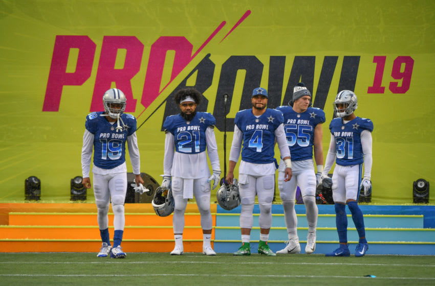 ORLANDO, FL - JANUARY 27: (L-R) Amari Cooper #19, Ezekiel Elliott #21, Dak Prescott #4, Leighton Vander Esch#55, and Byron Jones #31 of the Dallas Cowboys get introduced before the 2019 NFL Pro Bowl at Camping World Stadium on January 27, 2019 in Orlando, Florida. (Photo by Mark Brown/Getty Images)