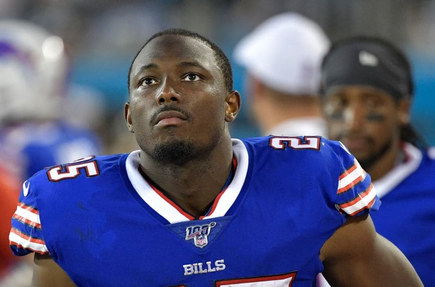 CHARLOTTE, NORTH CAROLINA - AUGUST 16: LeSean McCoy #25 of the Buffalo Bills checks the scoreboard during the second quarter of their preseason game against the Carolina Panthers at Bank of America Stadium on August 16, 2019 in Charlotte, North Carolina. (Photo by Grant Halverson/Getty Images)