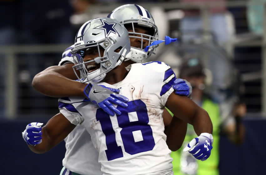 ARLINGTON, TEXAS - SEPTEMBER 08: Randall Cobb #18 of the Dallas Cowboys celebrates a touchdown with Amari Cooper #19 against the New York Giants at AT&T Stadium on September 08, 2019 in Arlington, Texas. (Photo by Ronald Martinez/Getty Images)