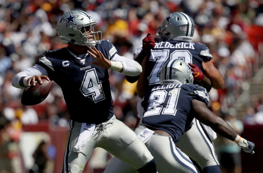 LANDOVER, MARYLAND - SEPTEMBER 15: Quarterback Dak Prescott #4 of the Dallas Cowboys drops back to pass in first half action against the Washington Redskins at FedExField on September 15, 2019 in Landover, Maryland. (Photo by Win McNamee/Getty Images)