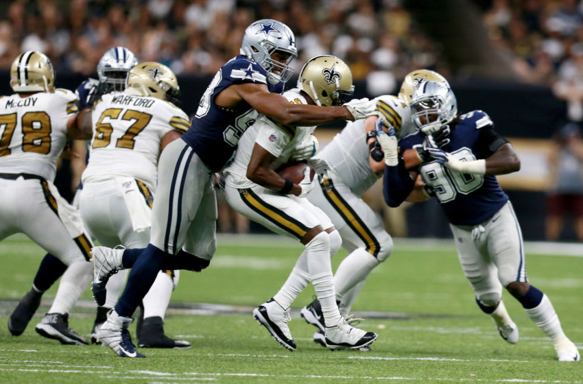 NEW ORLEANS, LOUISIANA - SEPTEMBER 29: Robert Quinn #58 of the Dallas Cowboys sacks Teddy Bridgewater #5 of the New Orleans Saints during the second half of a NFL game at the Mercedes Benz Superdome on September 29, 2019 in New Orleans, Louisiana. (Photo by Sean Gardner/Getty Images)