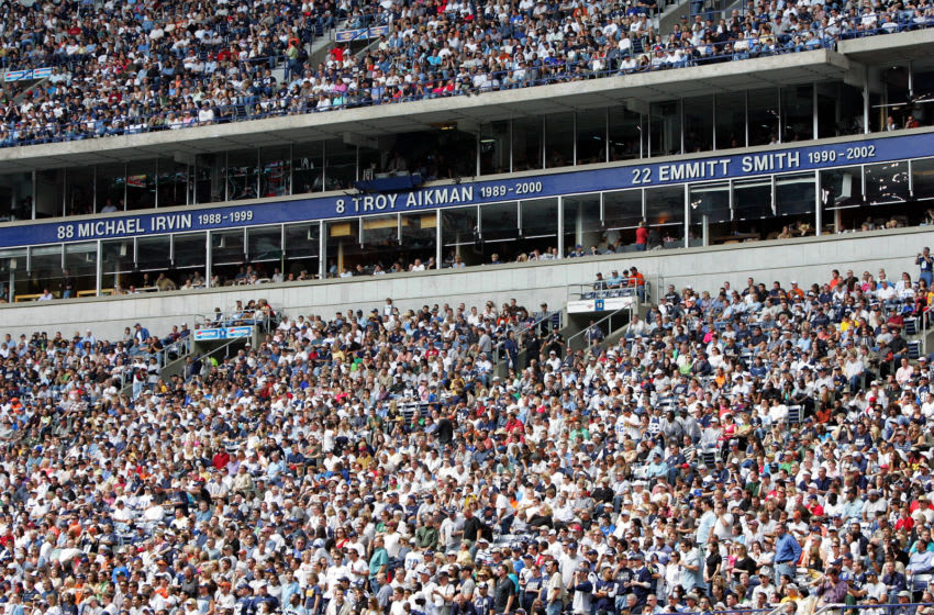 IRVING, TX - OCTOBER 30: The ring of honor displays the names of Michael Irvin, Troy Aikman and Emmitt Smith of the Dallas Cowboys on October 30, 2005 at Texas Stadium in Irving, Texas. (Photo by Ronald Martinez/Getty Images)