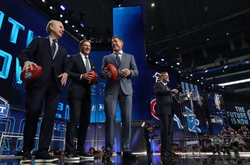 ARLINGTON, TX - APRIL 26: (L-R) Roger Staubach, Jason Witten, Troy Aikman and Roger Goodell during the first round of the 2018 NFL Draft at AT&T Stadium on April 26, 2018 in Arlington, Texas. (Photo by Ronald Martinez/Getty Images)