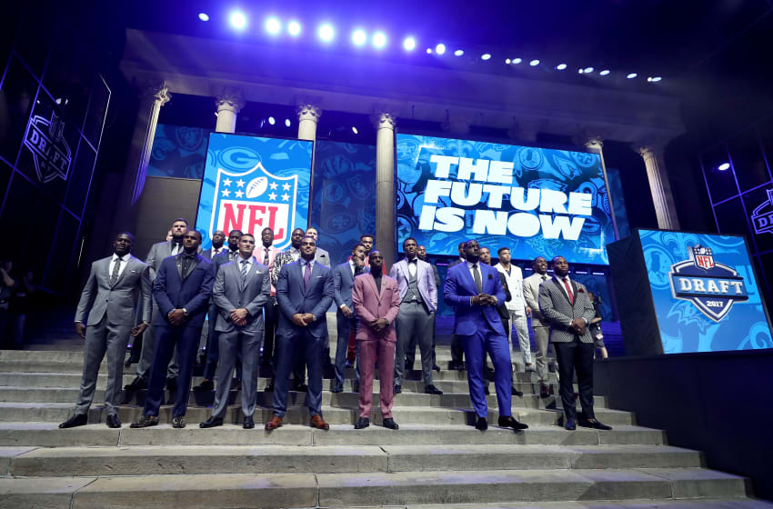 PHILADELPHIA, PA - APRIL 27: The Top Draft prospects pose on stage prior to the first round of the 2017 NFL Draft at the Philadelphia Museum of Art on April 27, 2017 in Philadelphia, Pennsylvania. (Photo by Elsa/Getty Images)