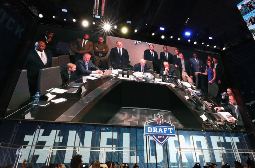 ARLINGTON, TX - APRIL 26: The Dallas Cowboys war room is seen on a video board during the first round of the 2018 NFL Draft at AT&T Stadium on April 26, 2018 in Arlington, Texas. (Photo by Ronald Martinez/Getty Images)