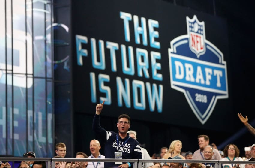 ARLINGTON, TX - APRIL 26: A Dallas Cowboys fan cheers during the first round of the 2018 NFL Draft at AT&T Stadium on April 26, 2018 in Arlington, Texas. (Photo by Ronald Martinez/Getty Images)