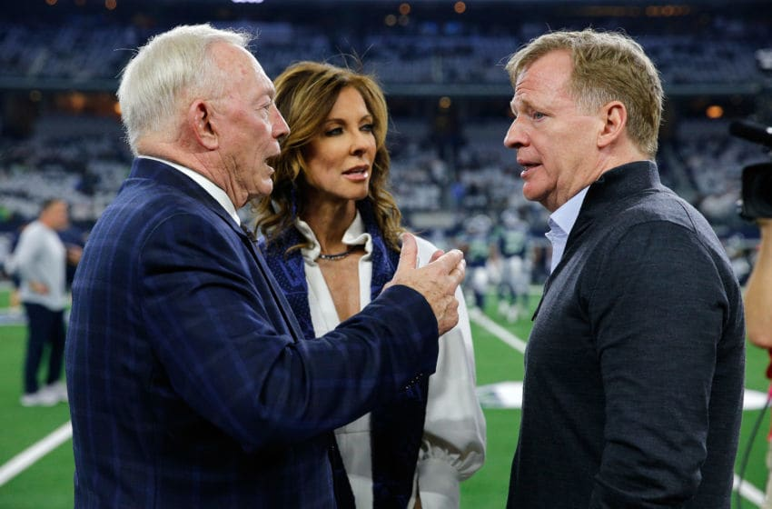 ARLINGTON, TEXAS - JANUARY 05: Dallas Cowboys owner Jerry Jones and Executive Vice President Charlotte Jones Anderson visit with NFL Commissioner Roger Goodell before the game between the Seattle Seahawks and Dallas Cowboys in the Wild Card Round at AT&T Stadium on January 05, 2019 in Arlington, Texas. (Photo by Tom Pennington/Getty Images)