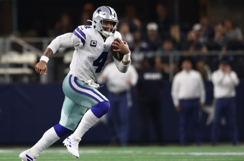 ARLINGTON, TEXAS - OCTOBER 06: Dak Prescott #4 of the Dallas Cowboys at AT&T Stadium on October 06, 2019 in Arlington, Texas. (Photo by Ronald Martinez/Getty Images)