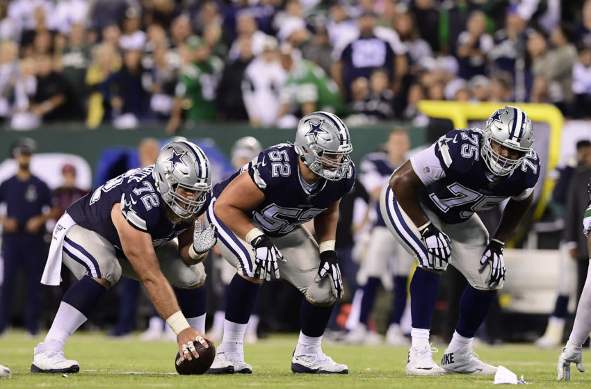 Travis Frederick, Connor Williams and Cameron Fleming, Dallas Cowboys (Photo by Steven Ryan/Getty Images)