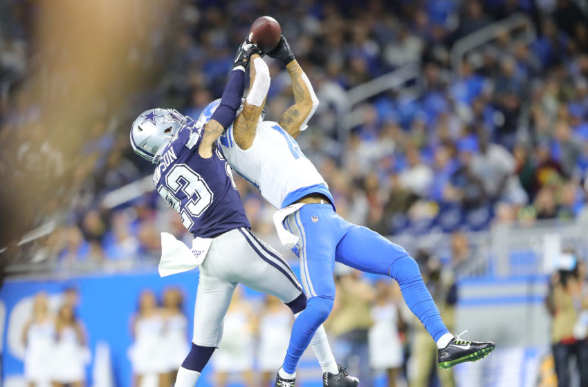 DETROIT, MI - NOVEMBER 17: Kenny Golladay #19 of the Detroit Lions attempts to make a catch while defended by Darian Thompson #23 of the Dallas Cowboys in the fourth quarter at Ford Field on November 17, 2019 in Detroit, Michigan. (Photo by Rey Del Rio/Getty Images)