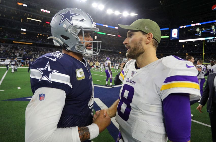 ARLINGTON, TEXAS - NOVEMBER 10: Dak Prescott #4 of the Dallas Cowboys and Kirk Cousins #8 of the Minnesota Vikings meet on the field after the game at AT&T Stadium on November 10, 2019 in Arlington, Texas. (Photo by Richard Rodriguez/Getty Images)
