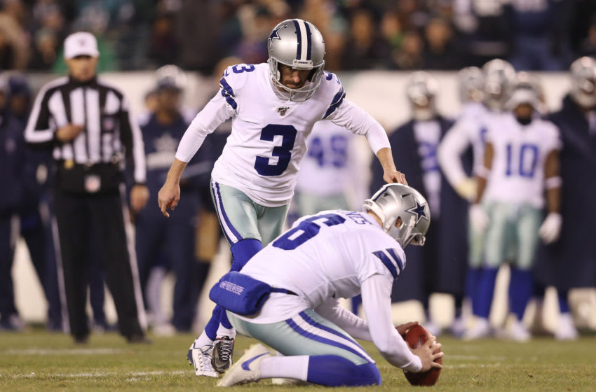 PHILADELPHIA, PENNSYLVANIA - DECEMBER 22: Kai Forbath #3 of the Dallas Cowboys attempts a field goal during the second quarter against the Philadelphia Eagles in the game at Lincoln Financial Field on December 22, 2019 in Philadelphia, Pennsylvania. (Photo by Patrick Smith/Getty Images)