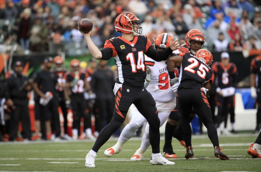 CINCINNATI, OHIO - DECEMBER 29: Andy Dalton #14 of the Cincinnati Bengals throws the ball during the game against the Cleveland Browns at Paul Brown Stadium on December 29, 2019 in Cincinnati, Ohio. (Photo by Andy Lyons/Getty Images)