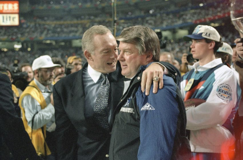Jerry Jones, Jimmy Johnson, Dallas Cowboys (Photo by Focus on Sport/Getty Images)