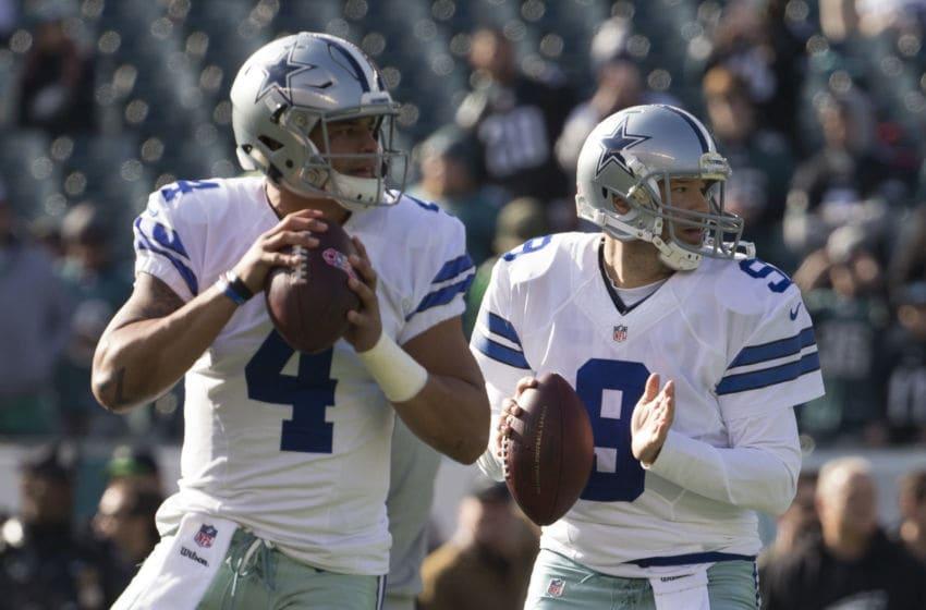 Dak Prescott #4 and Tony Romo #9, Dallas Cowboys (Photo by Mitchell Leff/Getty Images)