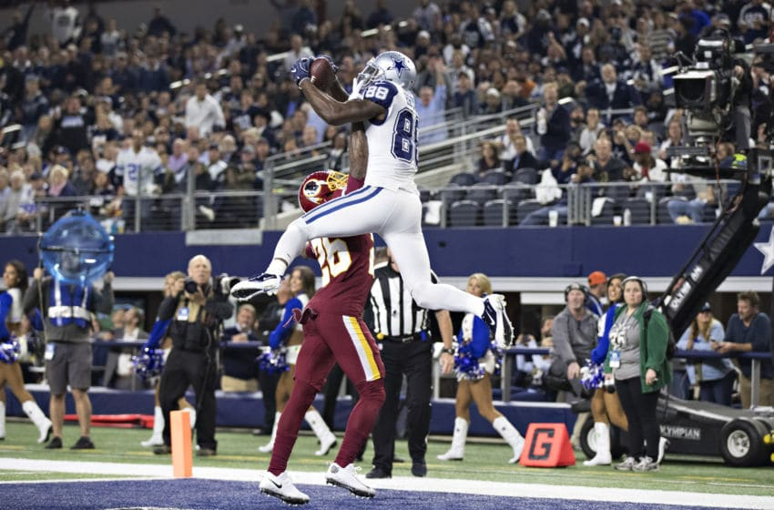 ARLINGTON, TX - NOVEMBER 30: Dez Bryant #88 of the Dallas Cowboys catches a record setting touchdown over Bashaud Breeland #26 of the Washington Redskins at AT&T Stadium on November 30, 2017 in Arlington, Texas. The Cowboys defeated the Redskins 38-14. (Photo by Wesley Hitt/Getty Images)