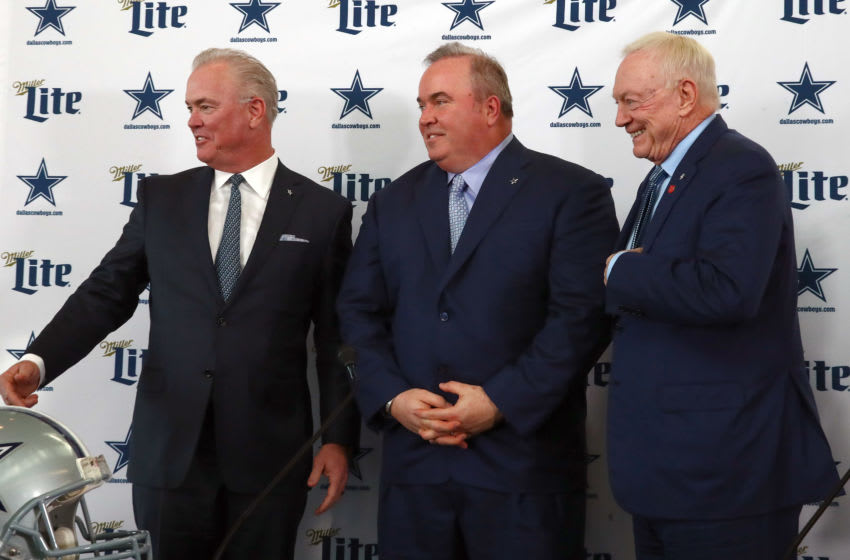 Dallas Cowboys, Mike McCarthy (center) with owner Jerry Jones (right) executive vice president Stephen Jones Mandatory Credit: Matthew Emmons-USA TODAY Sports